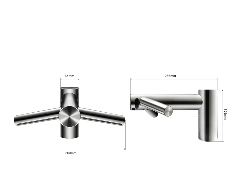 Dimensions of the Dyson Airblade Tap Short hand dryer