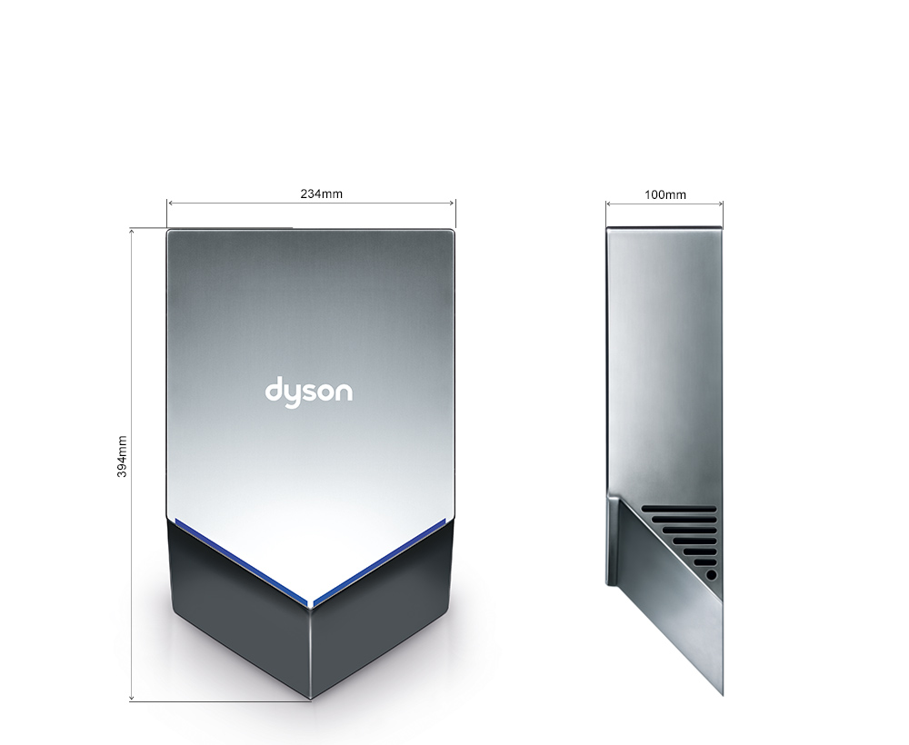 Dimensions of the Dyson Airblade V hand dryer