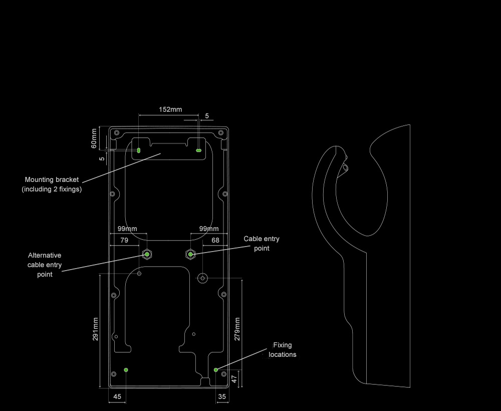 Internal dimensions of the Dyson Airblade dB hand dryer